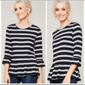 Black and Gray Striped Top